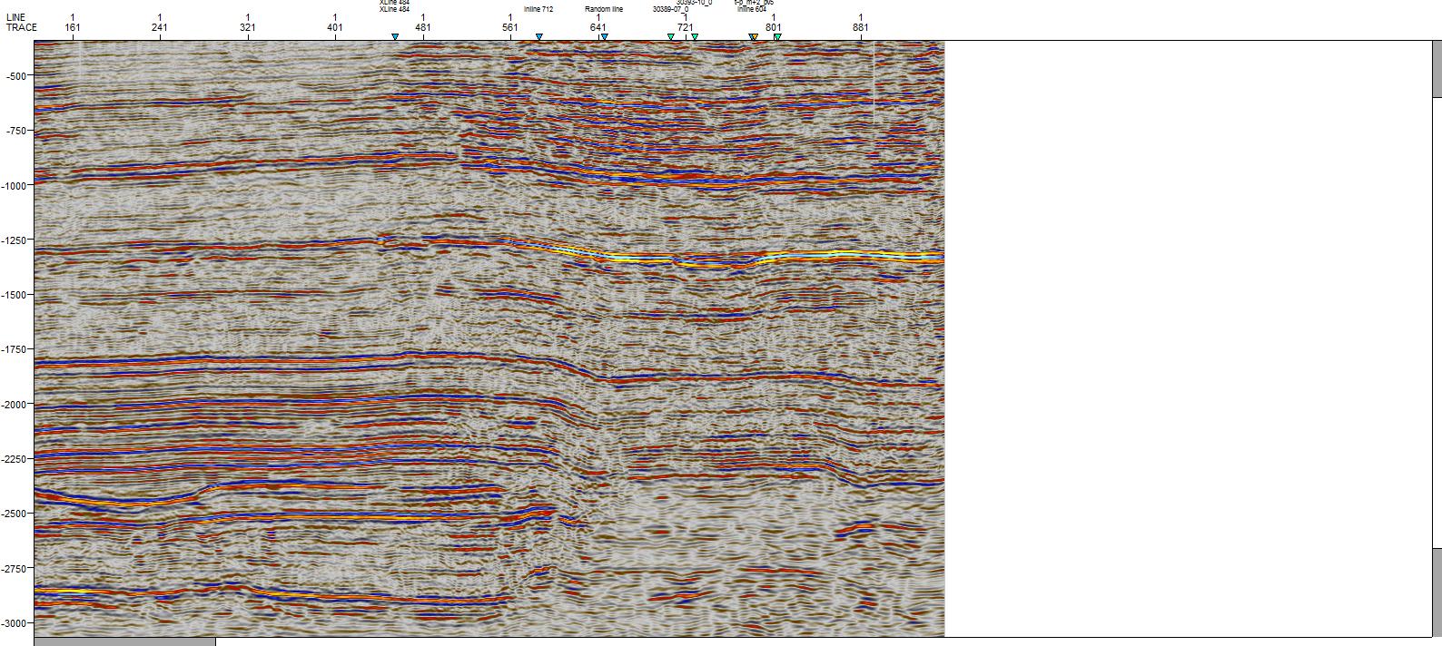 Пример волновой картины по сейсмическому профилю